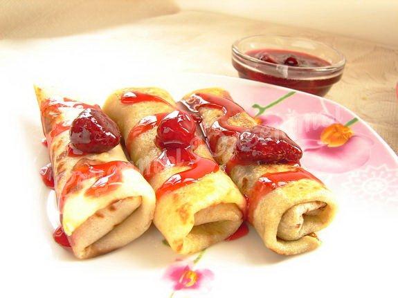 блинчики с замороженными ягодами
