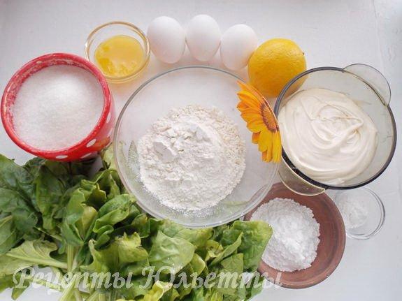 ингредиенты для шпинатного рулета со сливочным кремом