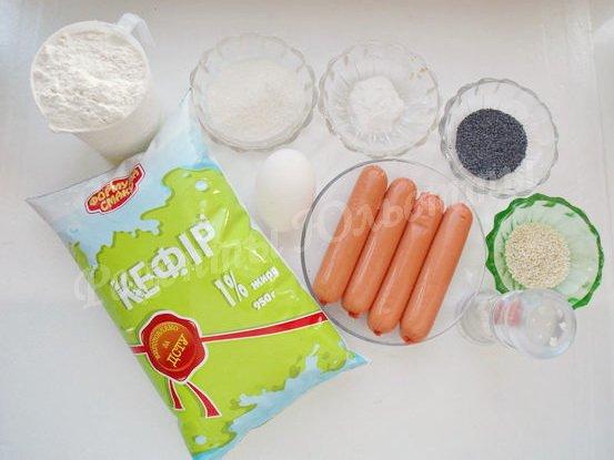 ингредиенты для пирога с сосисками