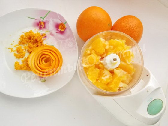 измельчаем апельсины