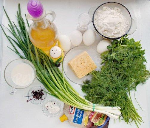 ингредиенты для кекса с сыром, укропом, петрушкой и зелёным луком