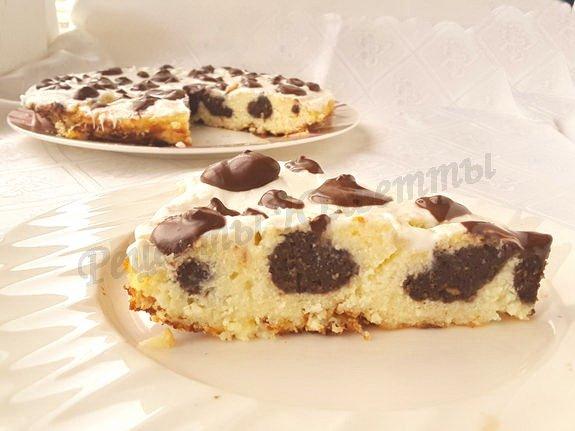 творожная запеканка с белым и чёрным шоколадом
