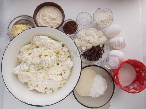 ингредиенты для запеканки с творогом и шоколадом