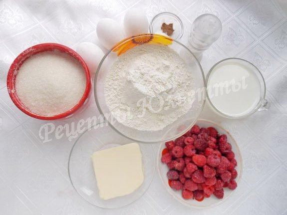 ингредиенты для пирога с малиной и заварным кремом