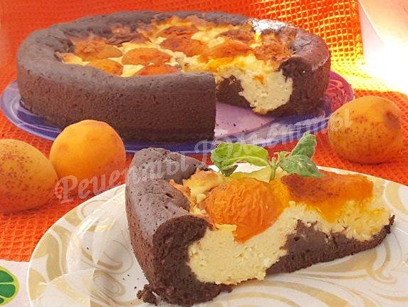 пирог с творогом, абрикосами и какао