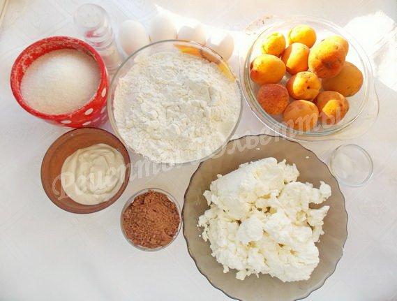 ингредиенты для шоколадно-творожно-абрикосового пирога