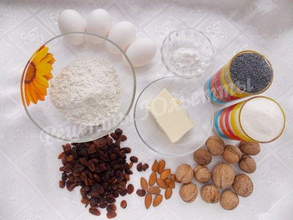 ингредиенты для макового кекса с орехами и изюмом