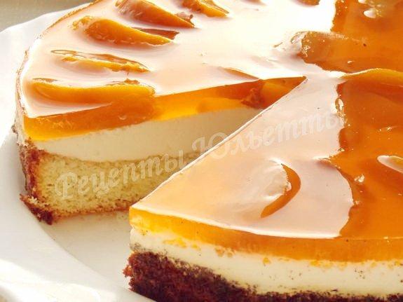 торт желейный с консервированными персиками