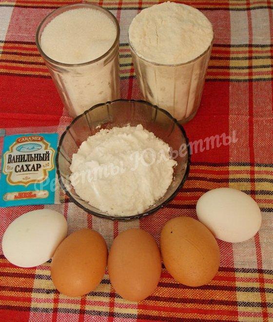 ингредиенты для розочек из бисквитного теста