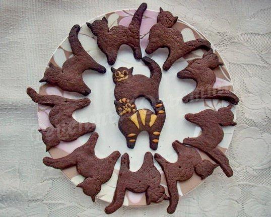 шоколадное песочное печенье кот