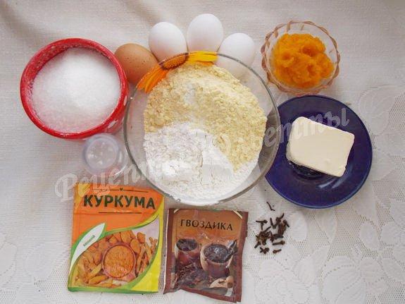 ингредиенты для песочно-тыквенного печенья