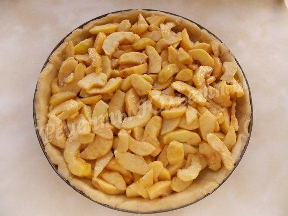 выкладываем на корж яблочную начинку