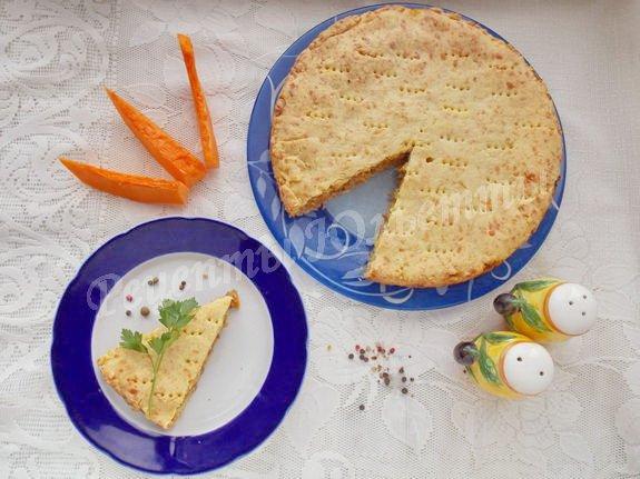 песочный пирог с тыквенно-мясной начинкой