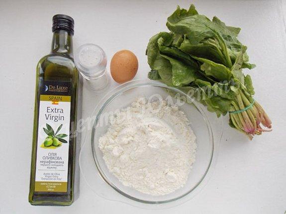 ингредиенты для лапши со шпинатом