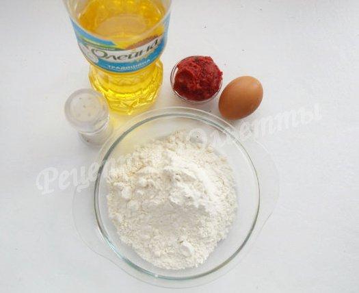 ингредиенты для лапши с томатом