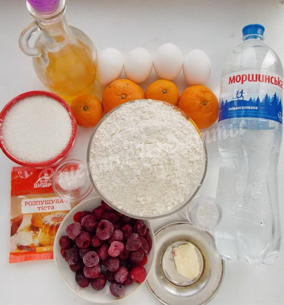 ингредиенты для пирога на минеральной воде