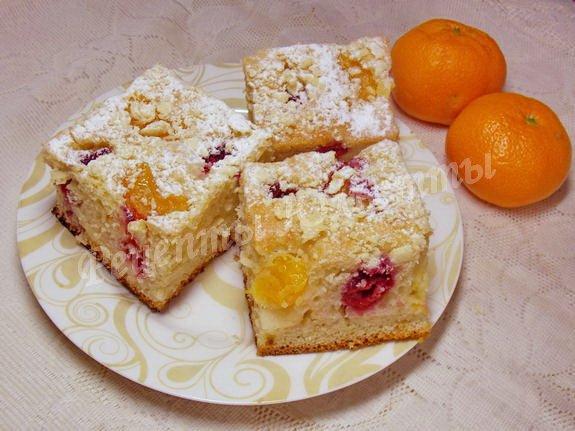 мандариново-вишнёвый пирог