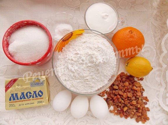 ингредиенты для лимонно-изюмного кекса