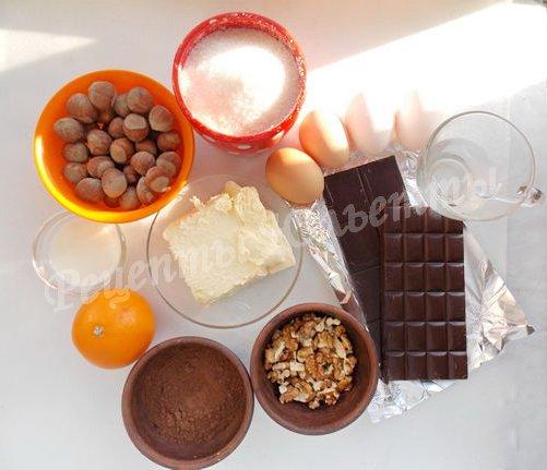 ингредиенты для шоколадно-апельсинового торта