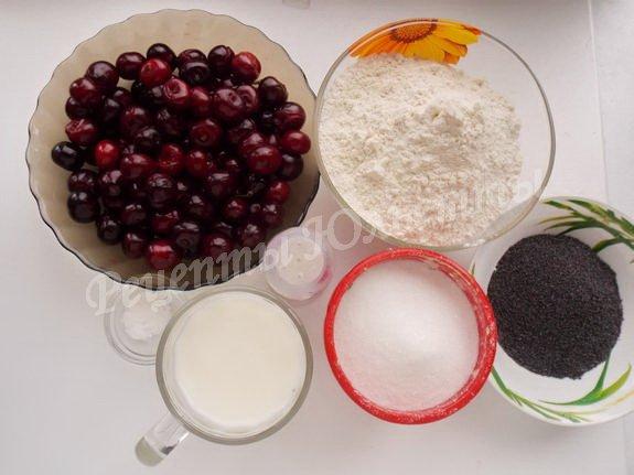 ингредиенты для маковых и вишнёвых вареников на кефире