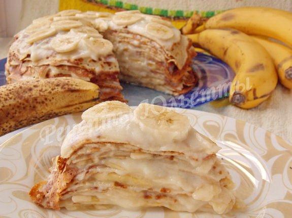 как приготовить блинный торт с фруктами и кремом