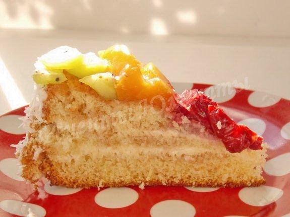 рецепт бисквита с фруктами и сметаной