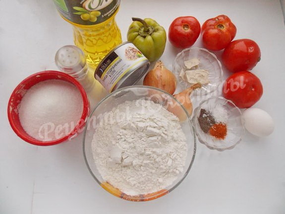 ингредиенты для эмпанады с тунцом и овощами