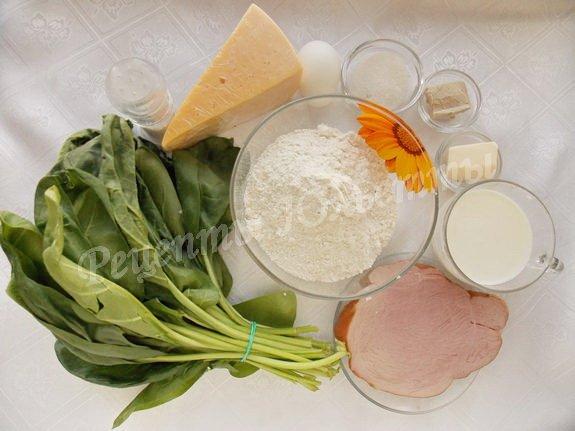 ингредиенты для булочек со шпинатом, сыром и ветчиной