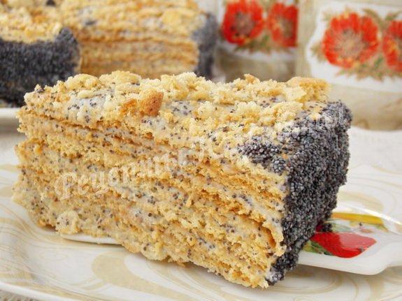 заварной медовый торт с маком