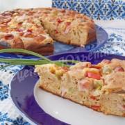 пирог с ветчиной, сыром и овощной смесью
