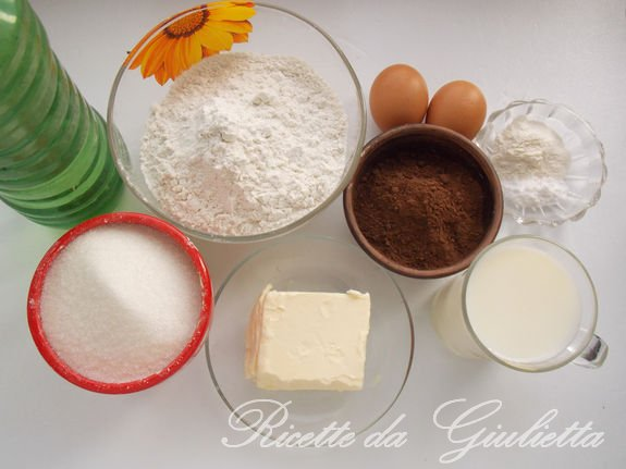 ingredienti per la torta al ciocolatto