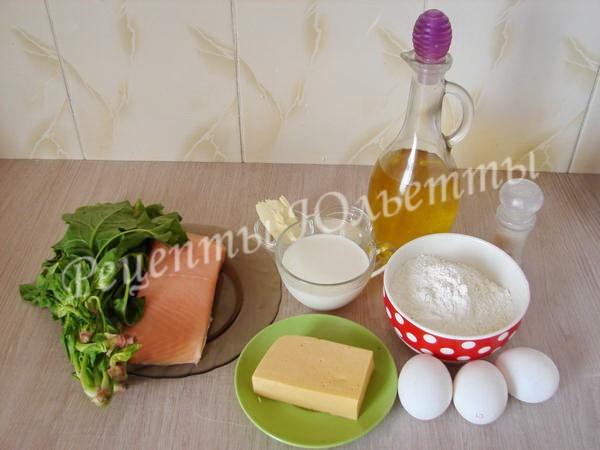 ингредиенты для пирога с лососем и шпинатом